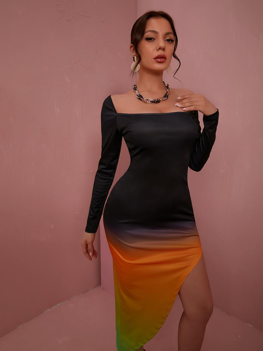 LW Square Neck Gradient Asymmetrical Dress