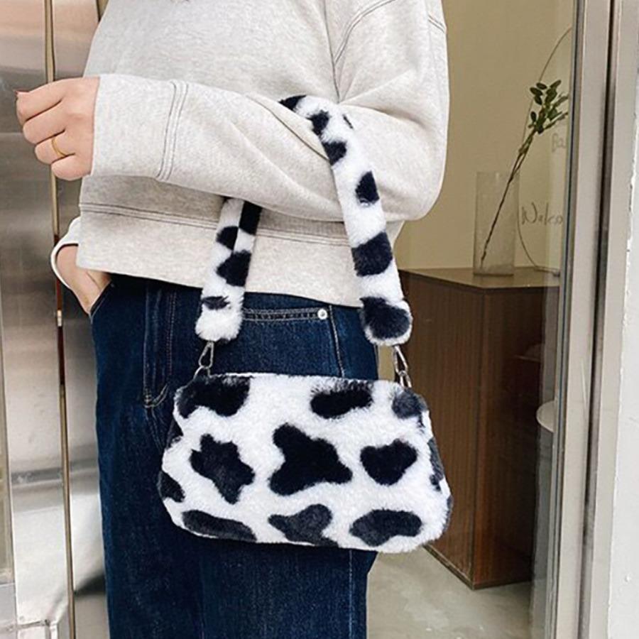 Lovely Leopard Print Plush Shoulder Bag