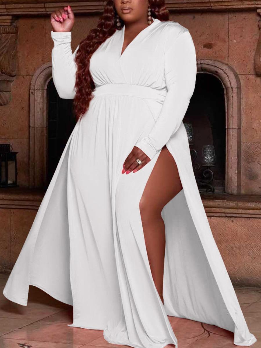 LW SXY Plus Size V Neck High Split Dress