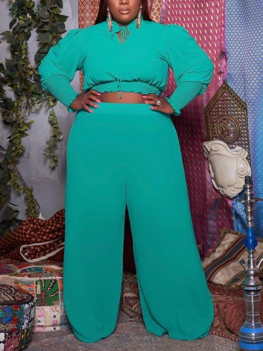 LW Plus Size Bandage Crop Top Pants Set