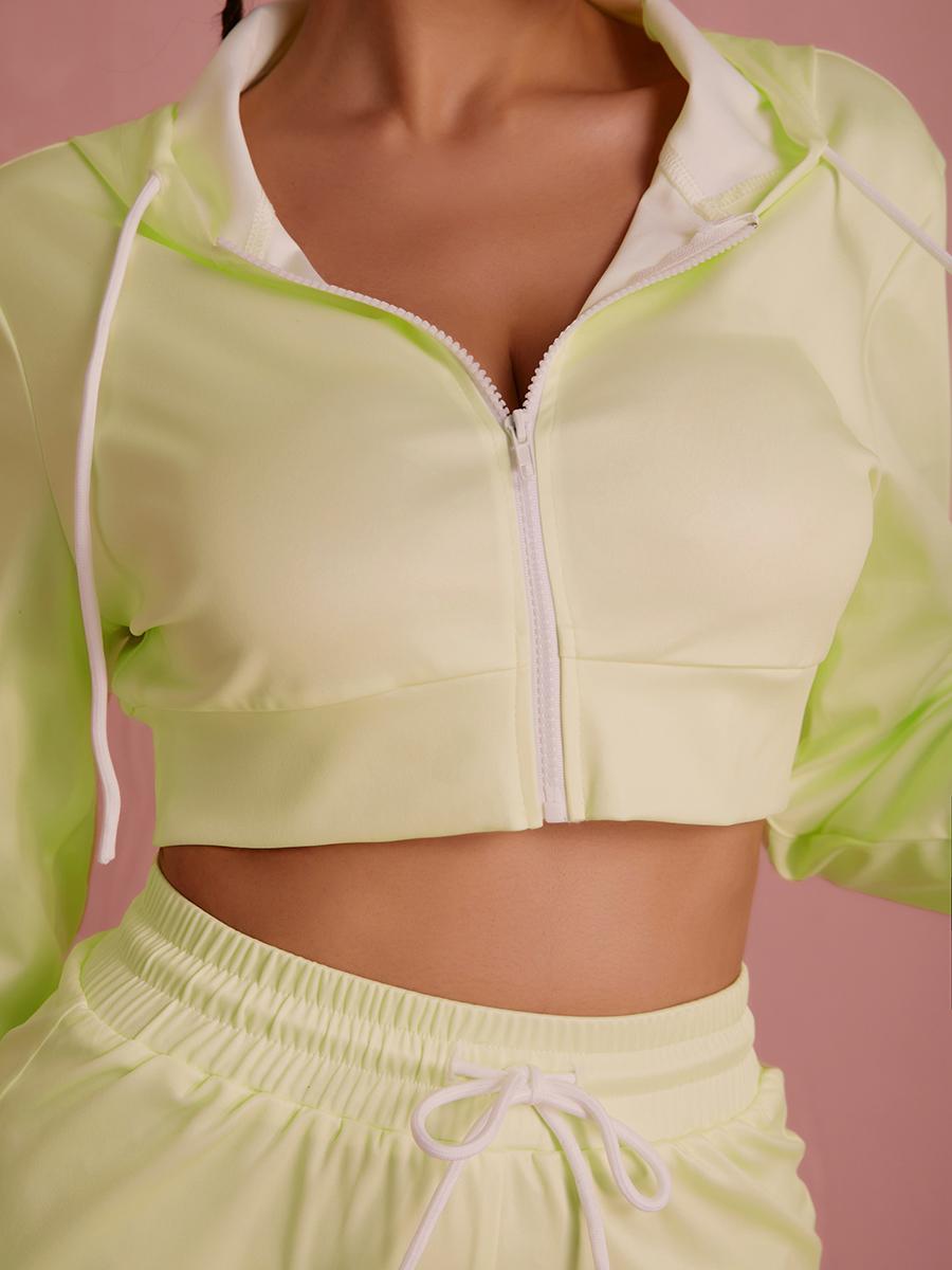 Lovely Drawstring Zipper Design Two Piece Shorts Set