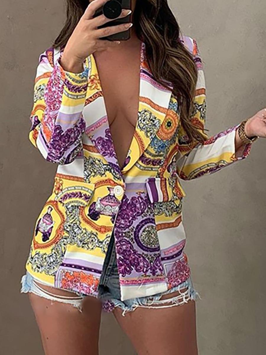 LW Mixed Print Single Button Blazer