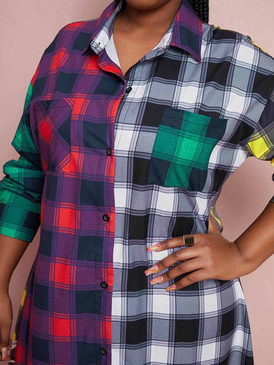 Lovely Plus Size Plaid Print Patchwork Shirt Dress