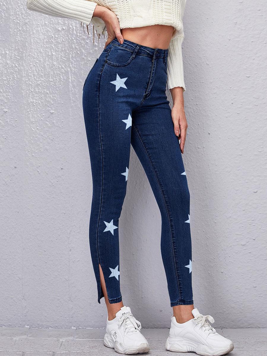 LW Star Print Slit Jeans