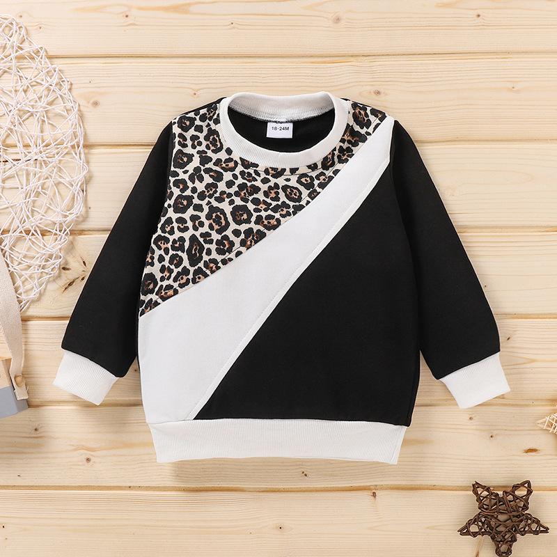 LW COTTON Boy Leopard Print Patchwork Sweatshirt