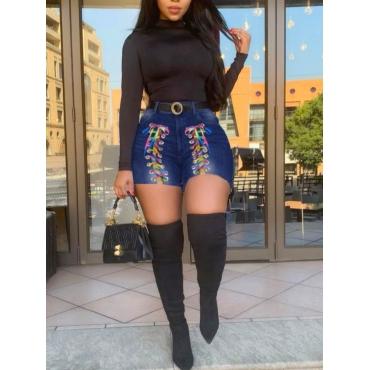 LW Plus Size Raw Edge Bandage Design Denim Shorts