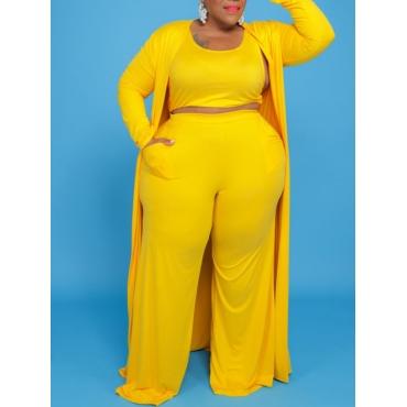 LW BASICS Plus Size U Neck Wide Leg Three-piece Pants Set