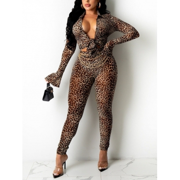 LW SXY Leopard Print Flared Pants Set (Without Waist Chain)