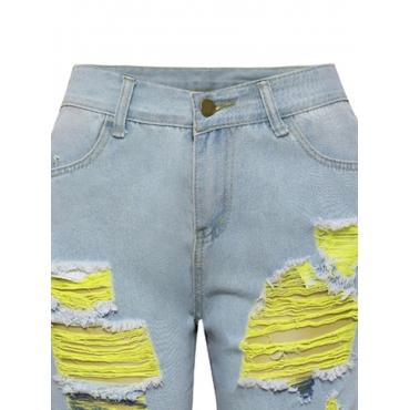 LW Mid Waist  Raw Edge Ripped Jeans