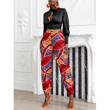 LW BASICS Mixed Print Pocket Design Pants