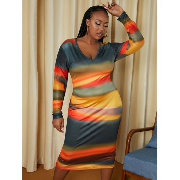 LW SXY Plus Size V Neck Gradient Bodycon Dress