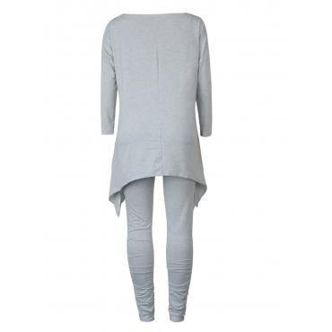 LW BASICS Plus Size Asymmetrical Fold Design Pants Set