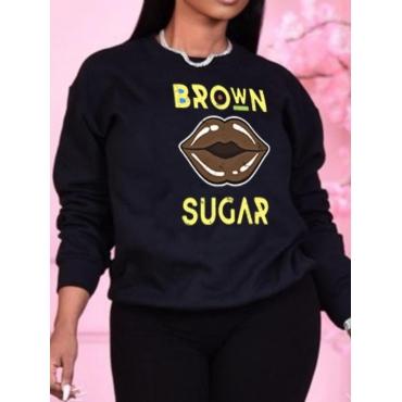 LW BASICS Lip Letter Print Oversized Sweatshirt