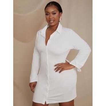 LW Plus Size Turndown Collar Button Design Shirt Dress
