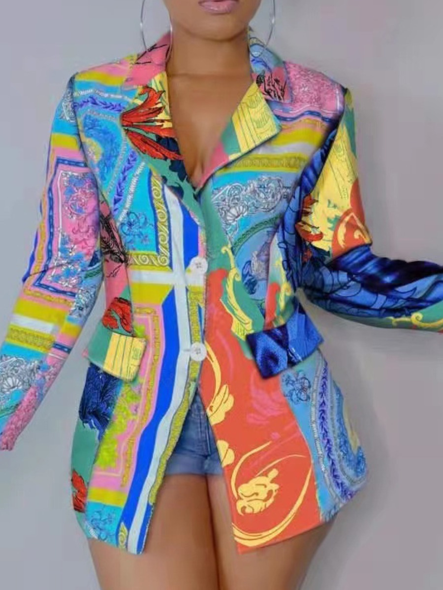 LW Mixed Print Pocket Design Blazer