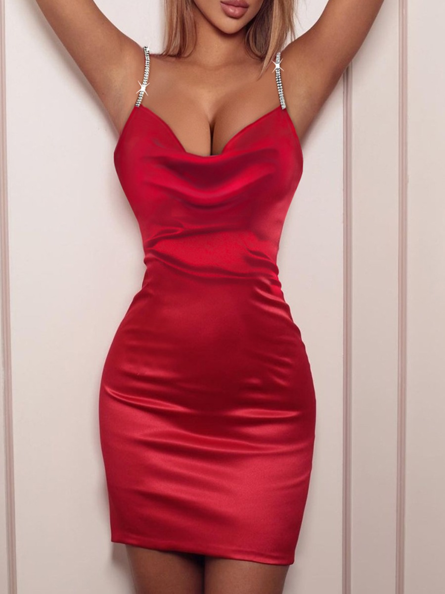 LW SXY Sequined Chain Basic Bodycon Prom Dress