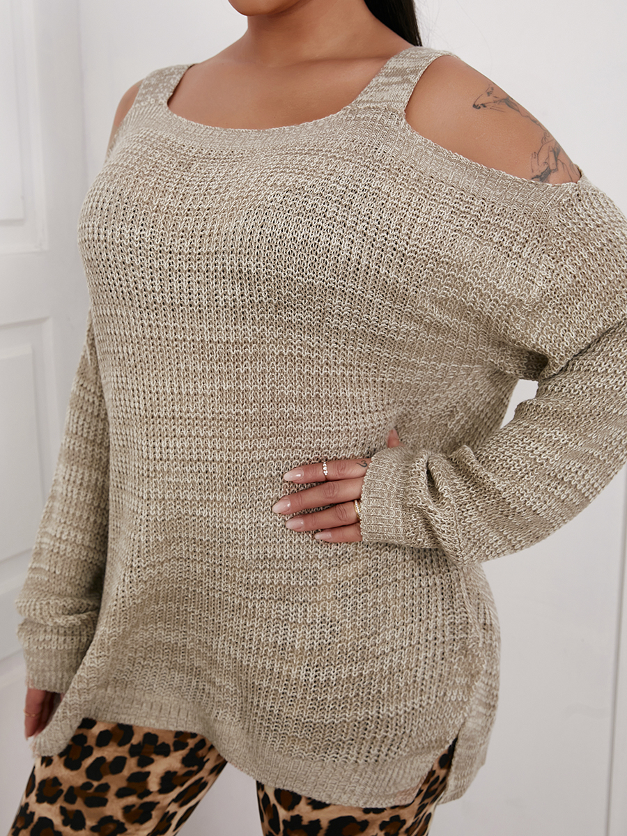 LW SXY Cold Shoulder Loose Sweater