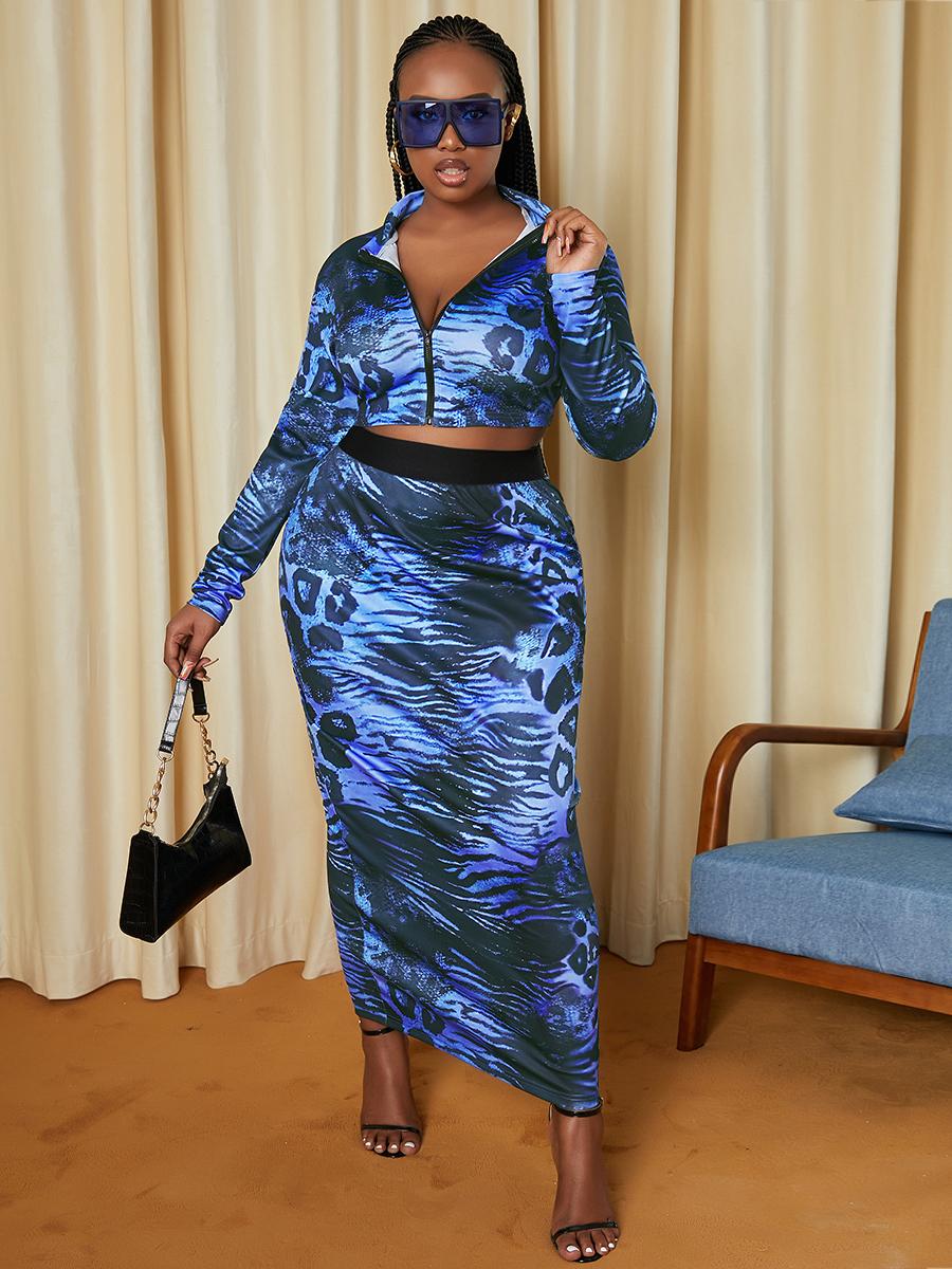 LW SXY Plus Size Leopard Print Zipper Design Skirt Set