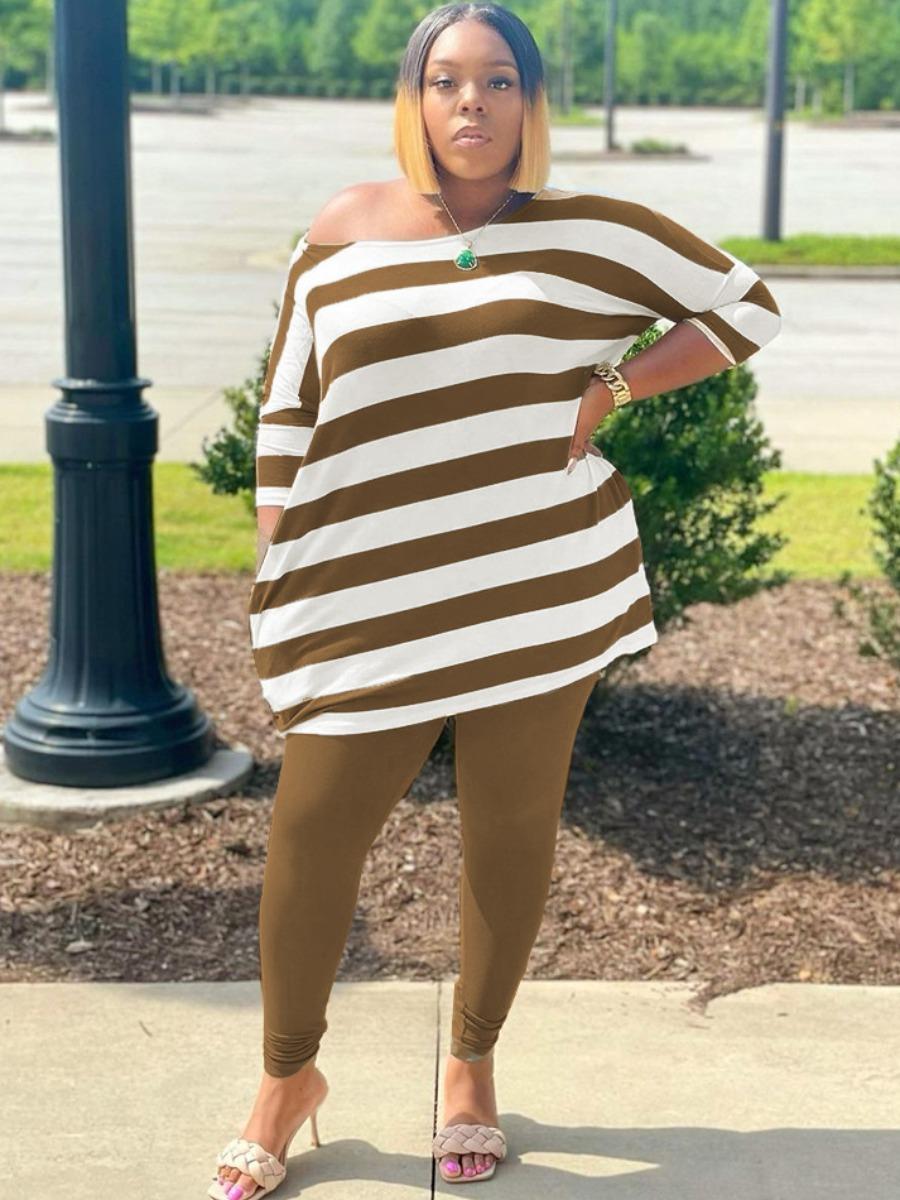 LW Plus Size Drop Shoulder Striped Pants Set