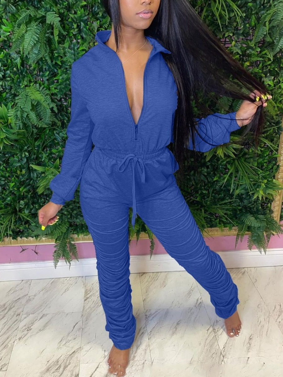 LW Casual Zipper Design Stacked Jumpsuit