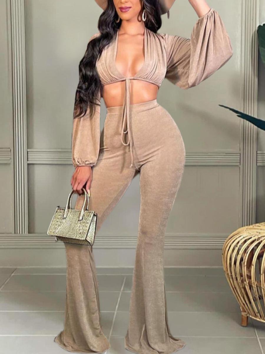 LW SXY Pleuche Bandage Flared Crop Top Pants Set