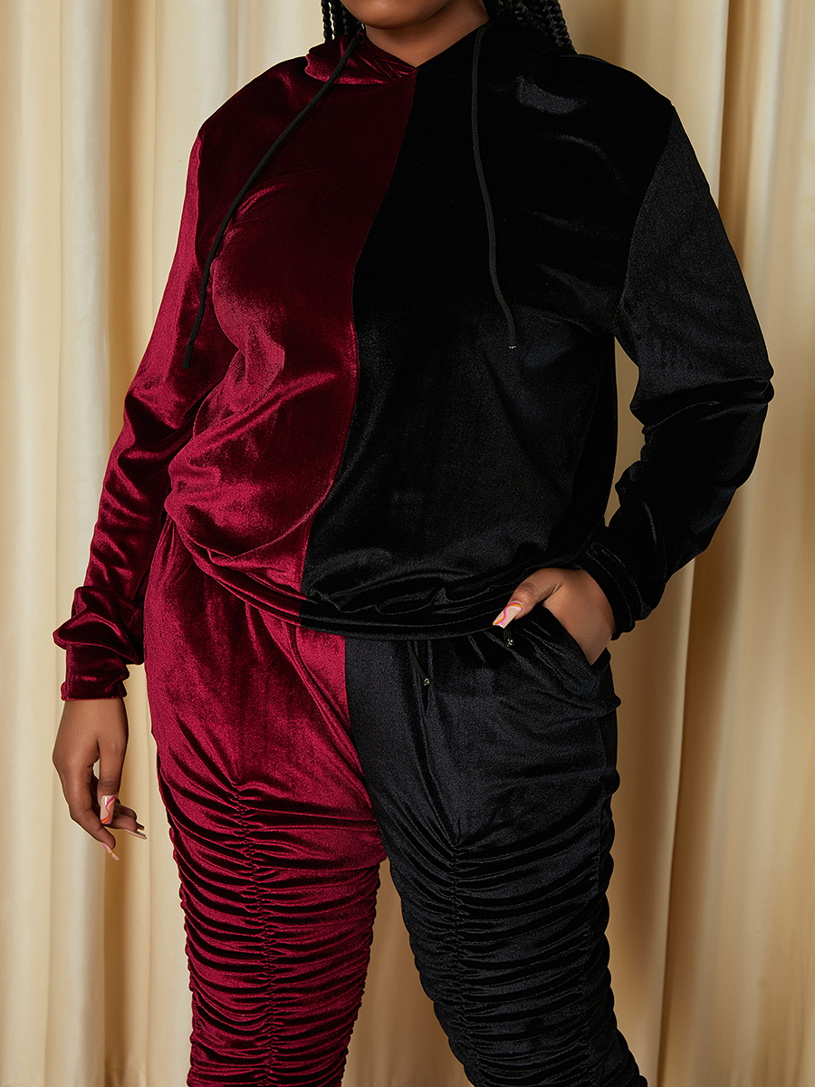 LW Plus Size Hooded Collar Ruched Pants Set