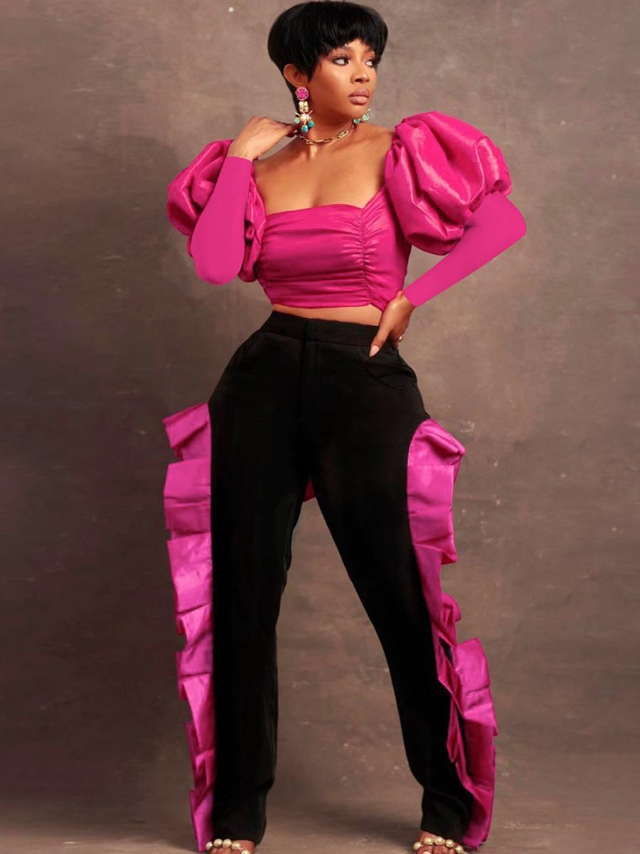 LW SXY Tie Back Puff Sleeve Pants Set