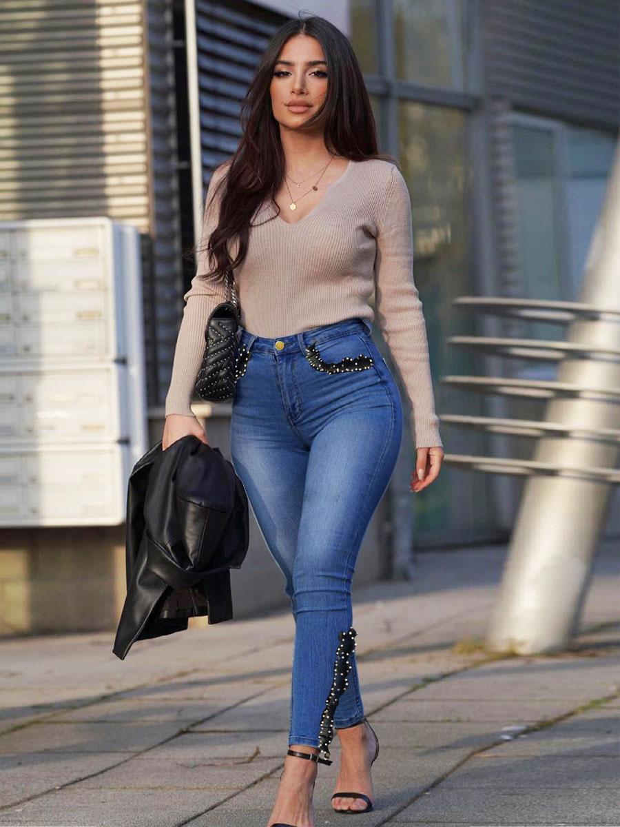LW High Waist Lace Hem Skinny Jeans