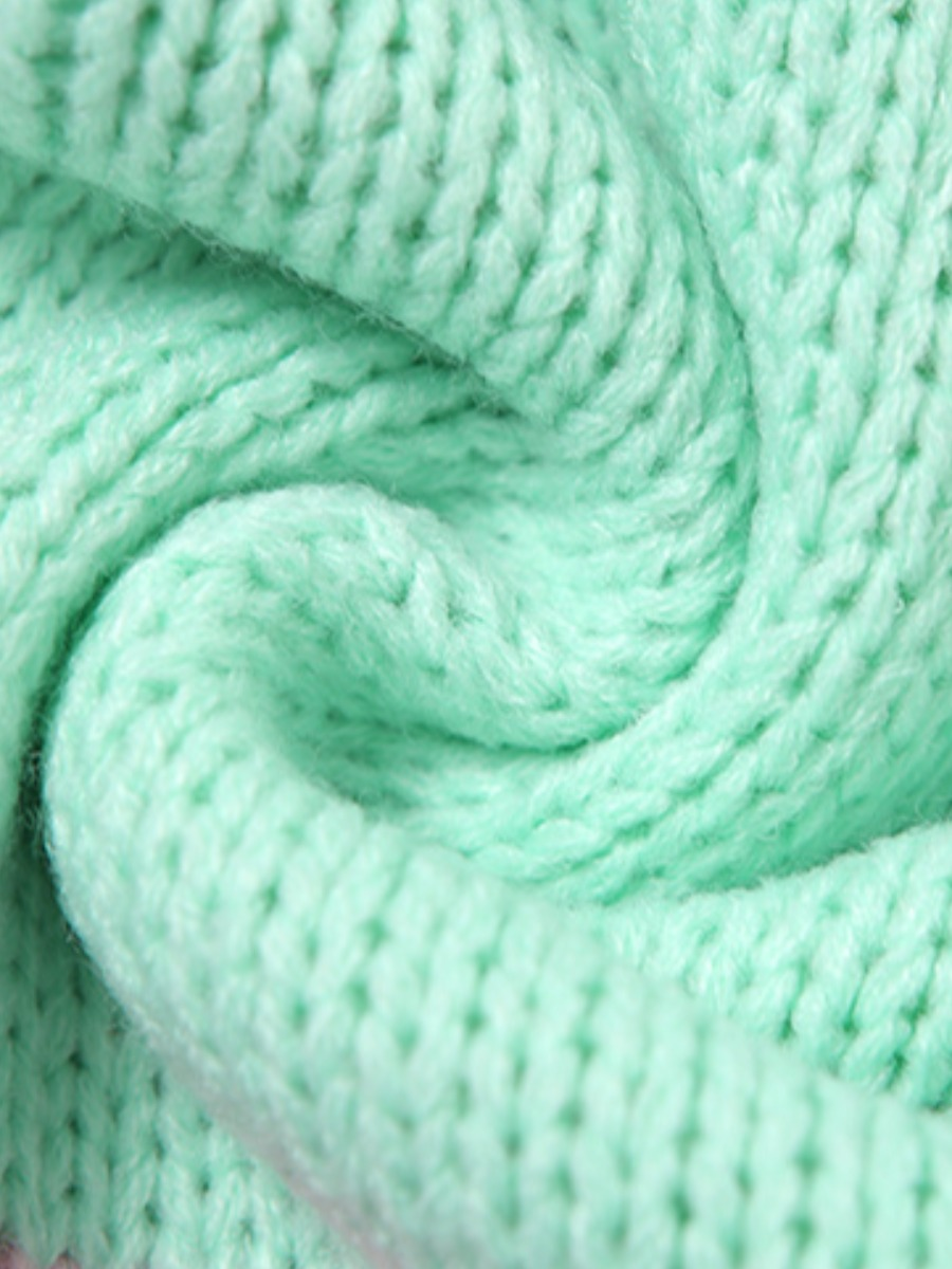 LW BASICS Color Block Button Design Sweater