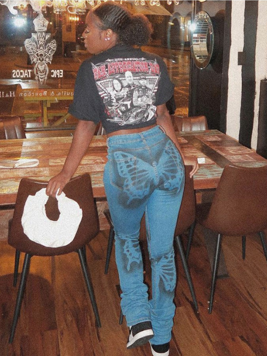 LW BASICS Butterfly Print Skinny Jeans