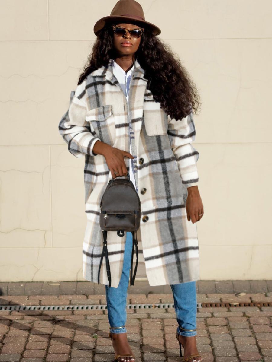 LW Woolen Plaid Pocket Design Oversized Wool