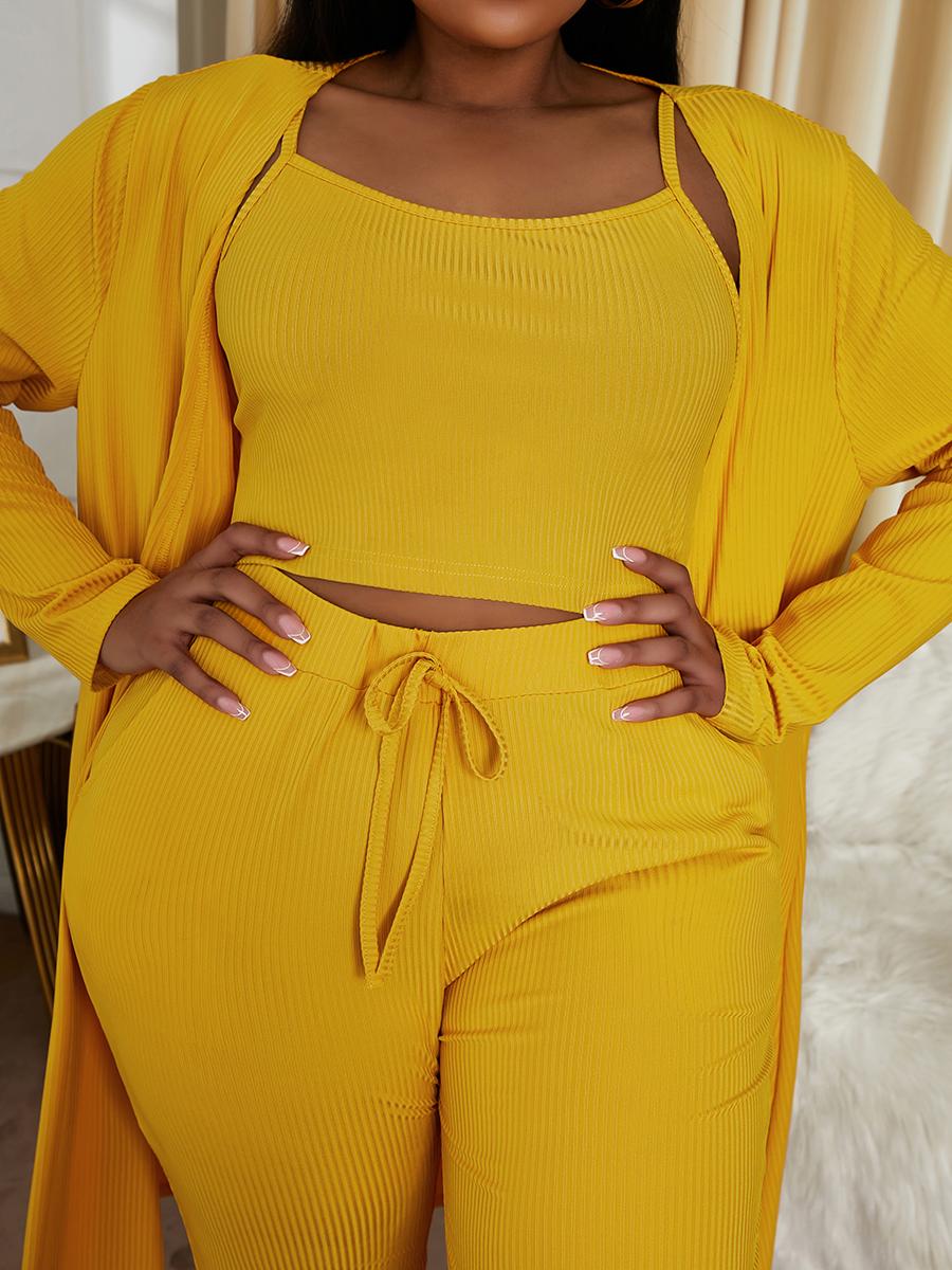 LW Plus Size Drawstring Skinny Cami Three-piece Pants Set
