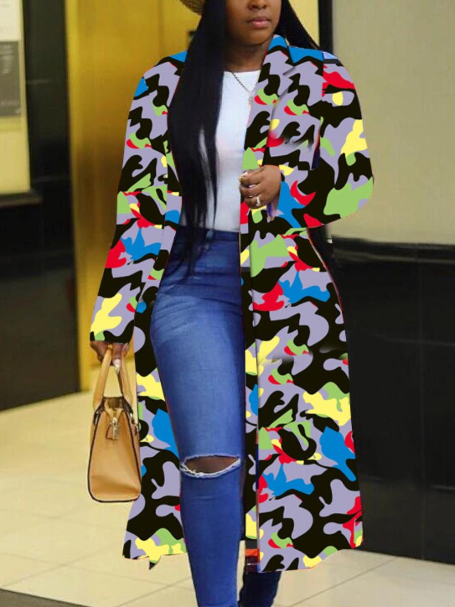 LW Turndown Collar Camo Print Loose Trench Coats