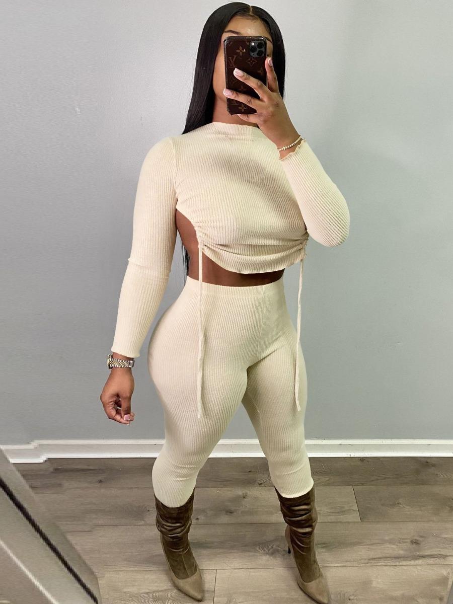 LW Plus Size Backless Bandage Design Crop Pants Set