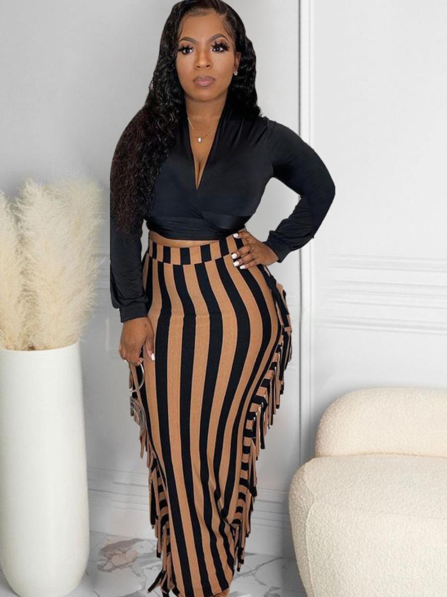 LW SXY Back Tie Tassel Design Striped Skirt Set