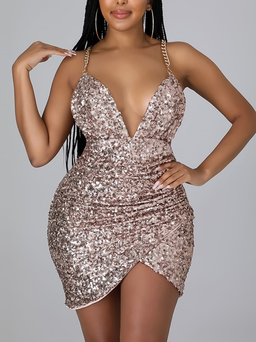 LW SXY Sequined Criss Cross Chain Prom Dress