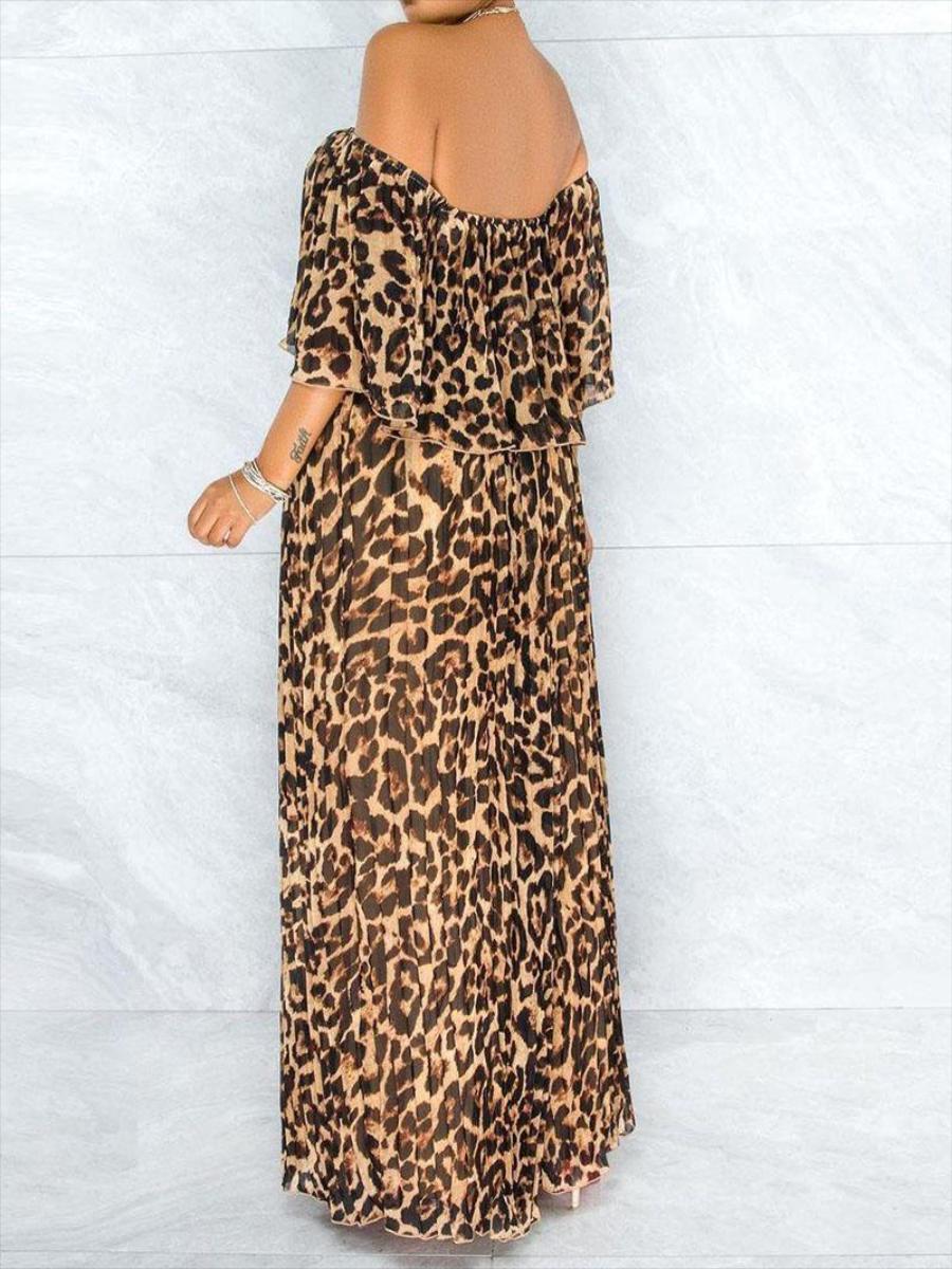 LW Plus Size Off The Shoulder Leopard Print Dress