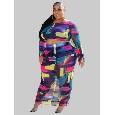 Lovely Plus Size O Neck Print Skirt Set