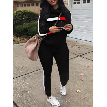 LW Stacked Neck Striped Patchwork Tracksuit Set