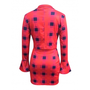 LW Sweet Flared Plaid Print Red Two Piece Skirt Set(Without Inner Top)