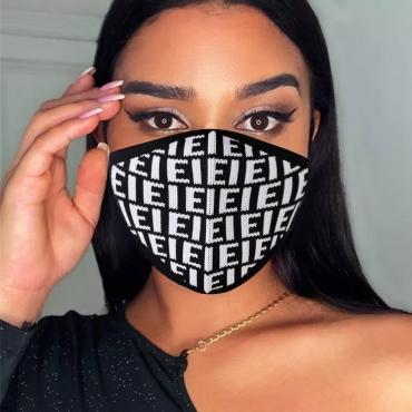 LW BASICS Rib-Knit Letter Print Face Mask