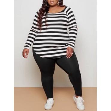 LW BASICS Plus Size Casual O Neck Striped Black Two-piece Pants Set