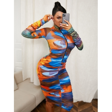 LW Tie Dye See-through Bodycon Dress