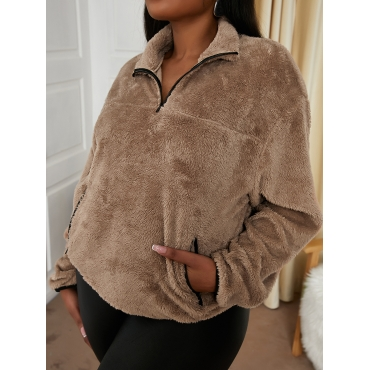 LW Plus Size Dropped Shoulder Teddy Sweatshirt
