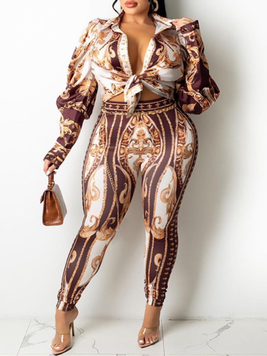 LW Plus Size Tribal Print Button Design Pants Set