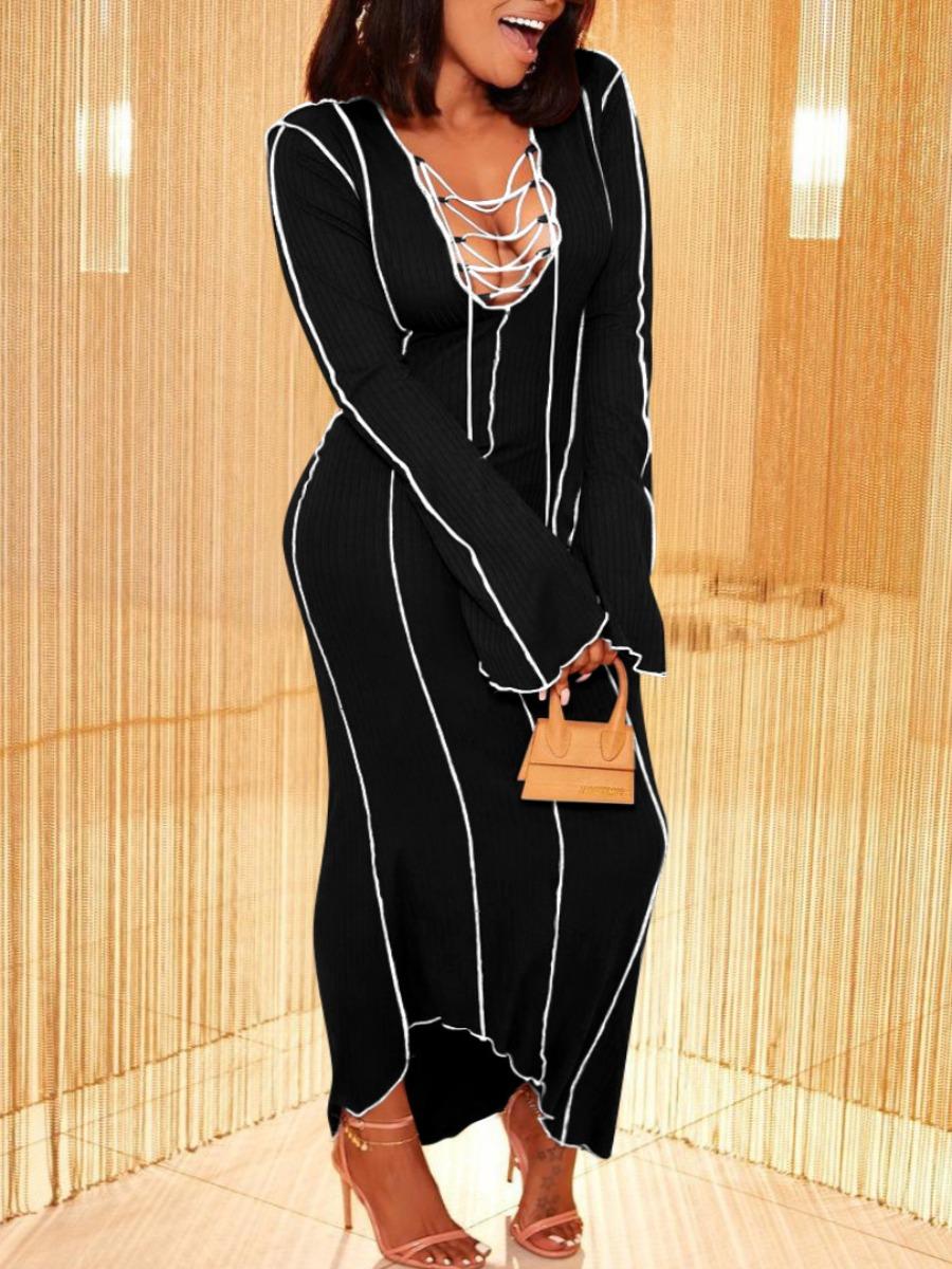 LW SXY Rib Knit Lettuce Trim Hollow Out Dress
