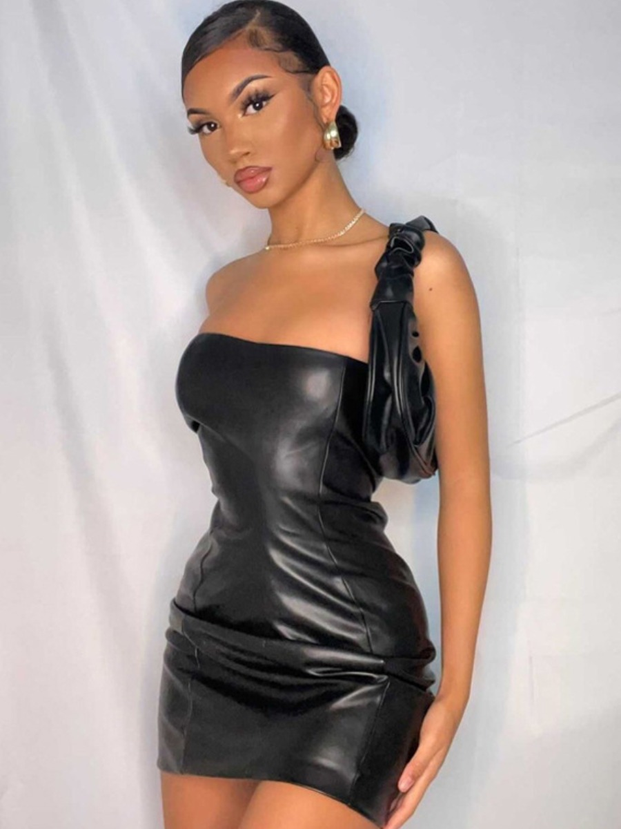 LW SXY Leather Off The Shoulder Solid Dress
