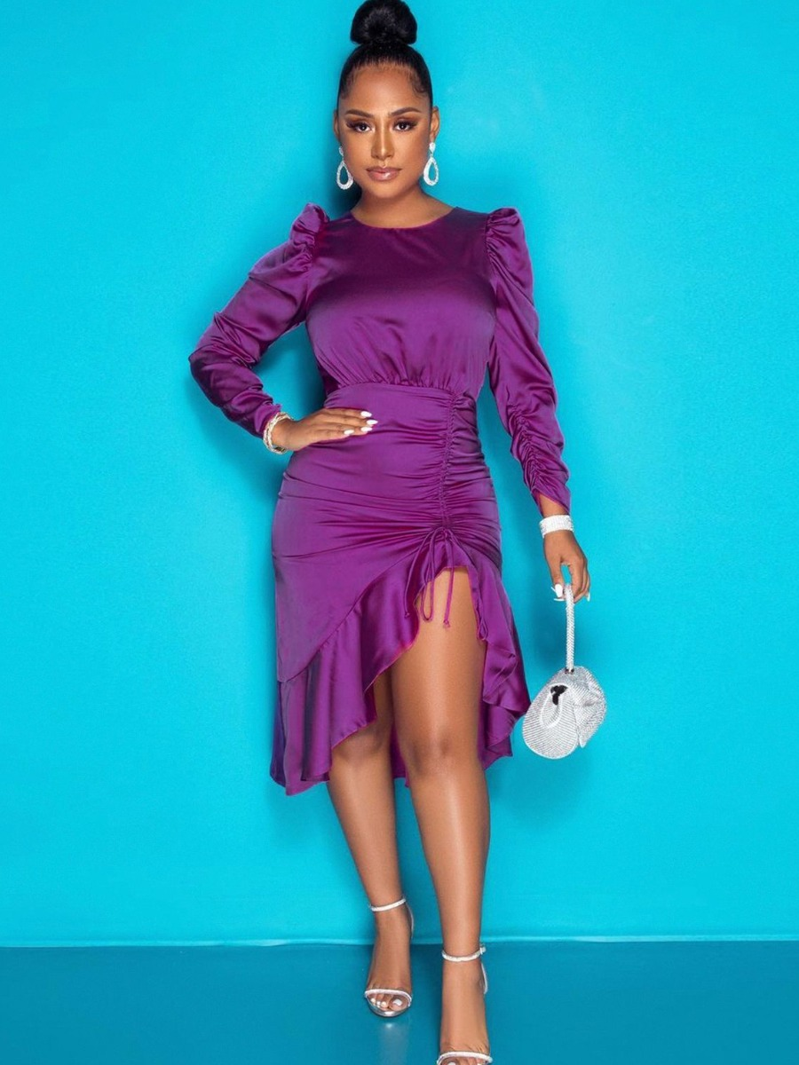 LW SXY Backless Ruffle Design Ruched Asymmetrical Dress