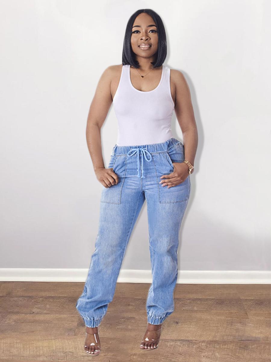 LW Drawstring Pocket Design Jeans