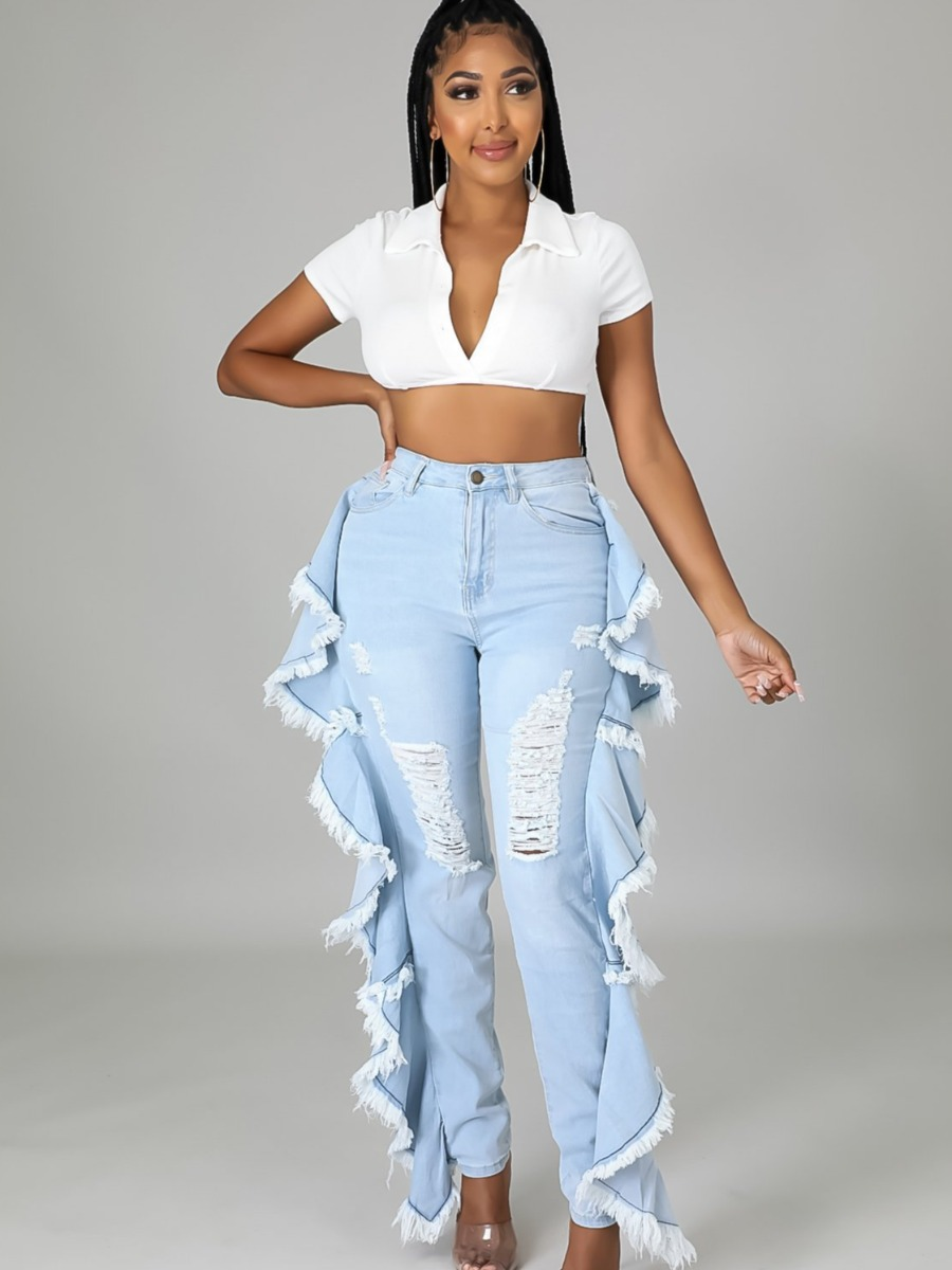 LW Tassel Ruffle Design Ripped Jeans